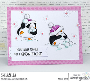 www.stampingbella.com: rubber stamp used SNOWFIGHT PENGUIN. Card by Michele Boyer