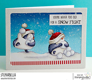www.stampingbella.com: rubber stamp used SNOWFIGHT PENGUIN. Card by Stephanie Hill