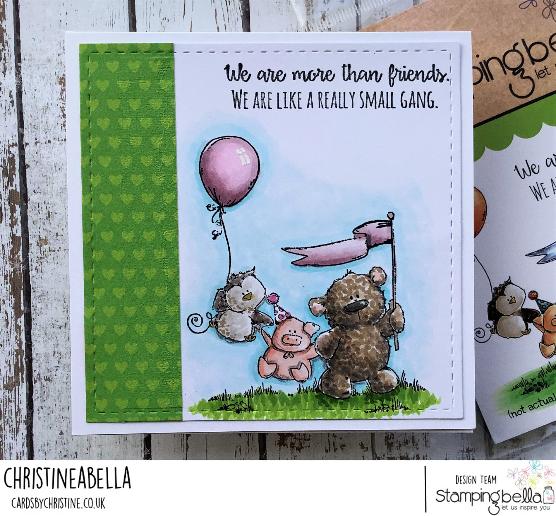 www.stampingbella.com : rubber stamp used- STUFFIE GANG, card by Christine Levison