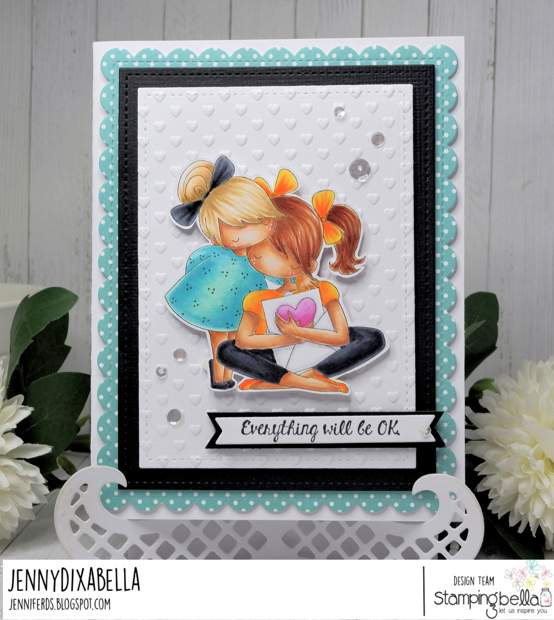 www.stampingbella.com: rubber stamp used THERE THERE TINY TOWNIE card by Jenny Dix