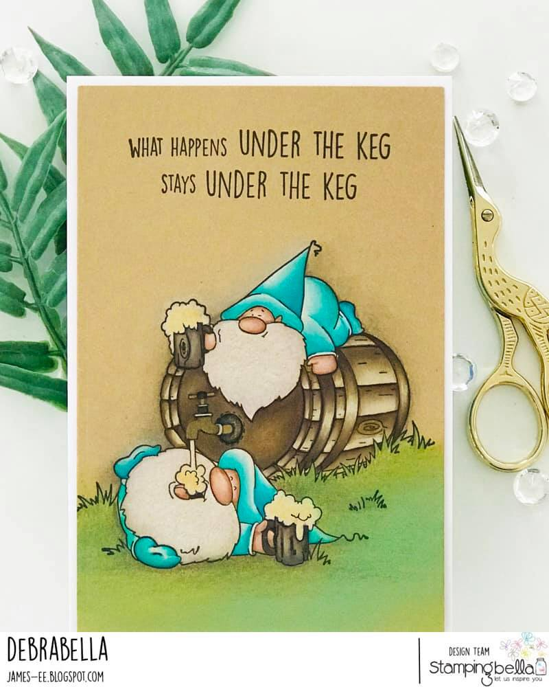 www.stampingbella.com: rubber stamp used  TWO GNOMES AND A KEG card by Debra James