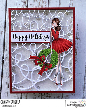 www.stampingbella.com: rubber stamp used UPTOWN GIRL WREN and her WREATHcard by Christine Levison