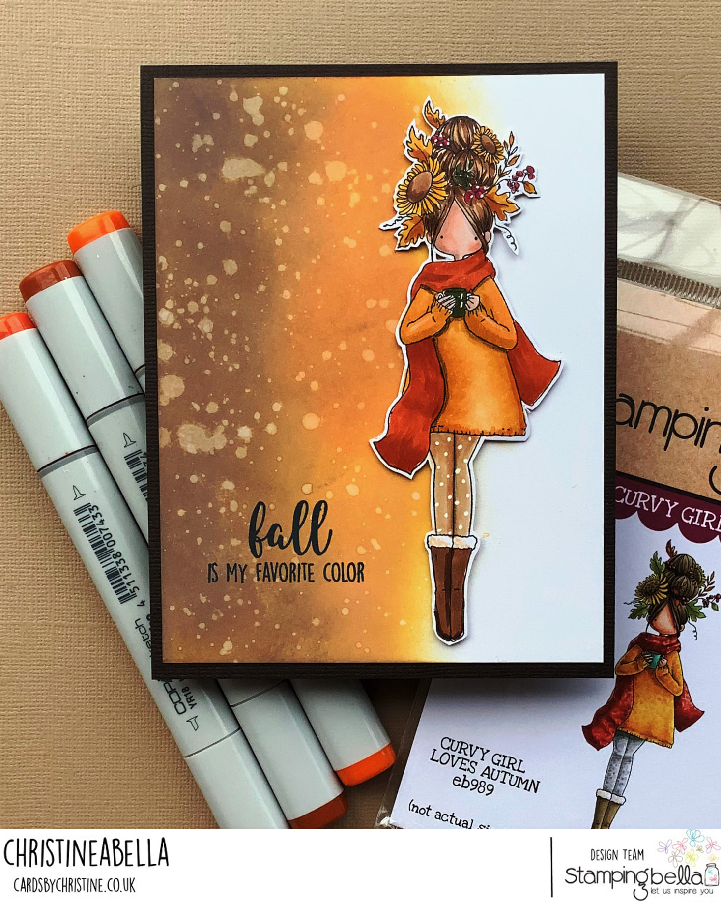 www.stampingbella.com: rubber stamp used: CURVY GIRL LOVES AUTUMN. Card by Christine LEVISON