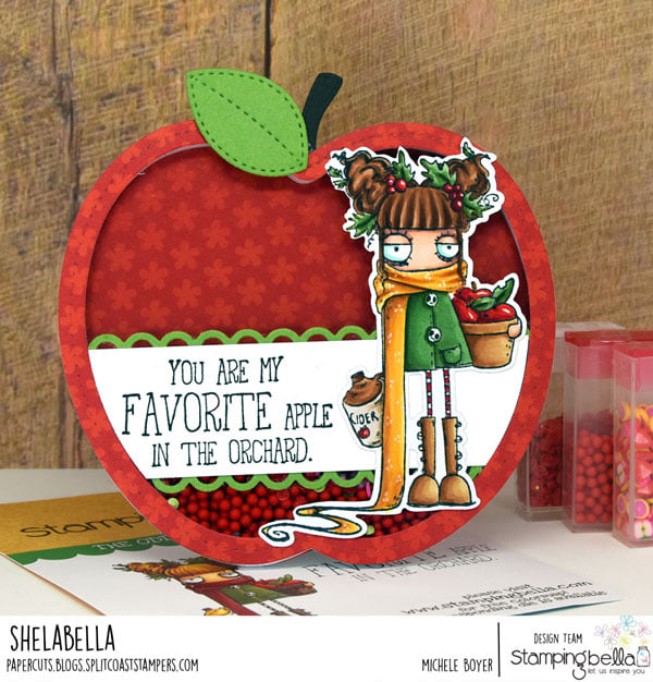 www.stampingbella.com: rubber stamp used APPLE CIDER ODDBALL, card by Michele Boyer