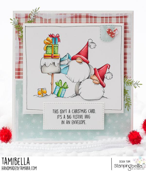www.stampingbella.com: rubber stamp used: Christmas card Gnomes card by Tamara Potocnik