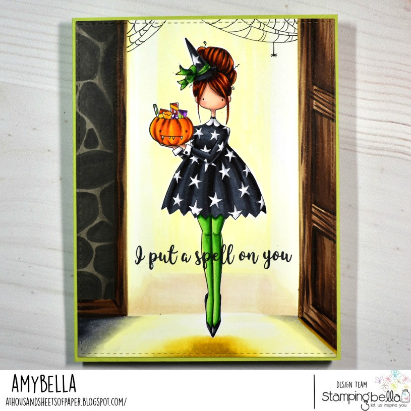www.stampingbella.com: rubber stamp used CURVY GIRL LOVES HALLOWEEN card by Amy Yi=oung