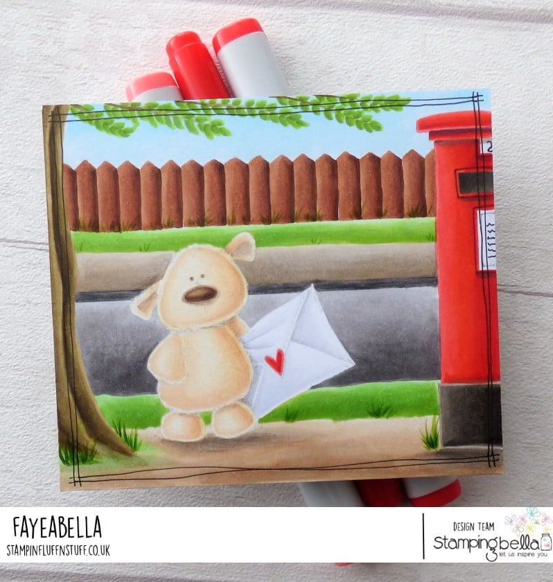 www.stampingbella.com: rubber stamp used :  HARRY the STUFFIE.  card by FAYE WYNN JONES