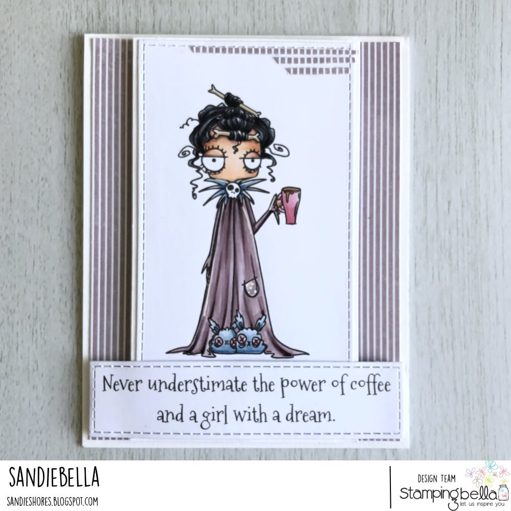 www.stampingbella.com: rubber stamp used ODDBALL WITH A COFFEE, card by Sandie Dunne