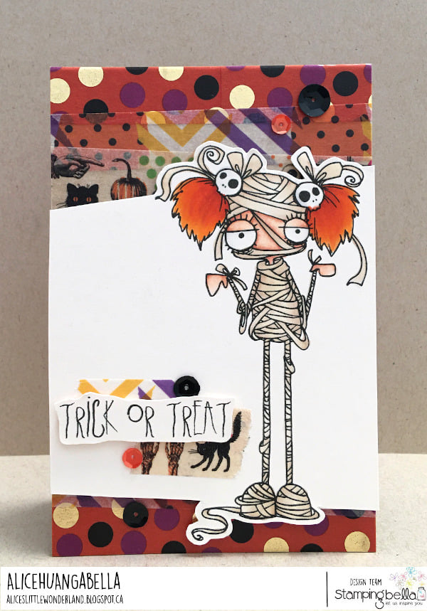 www.stampingbella.com: rubber stamp used: ODDBALL GIRL MUMMY card by Alice Huang