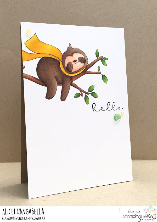 www.stampingbella.com: rubber stamp used: SLOTH ON. A WREATH. Card by Alice Huang