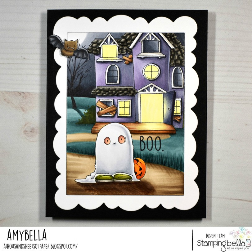 www.stampingbella.com: rubber stamp used : Squidgy Ghost Trick or Treater , card by Amy Young