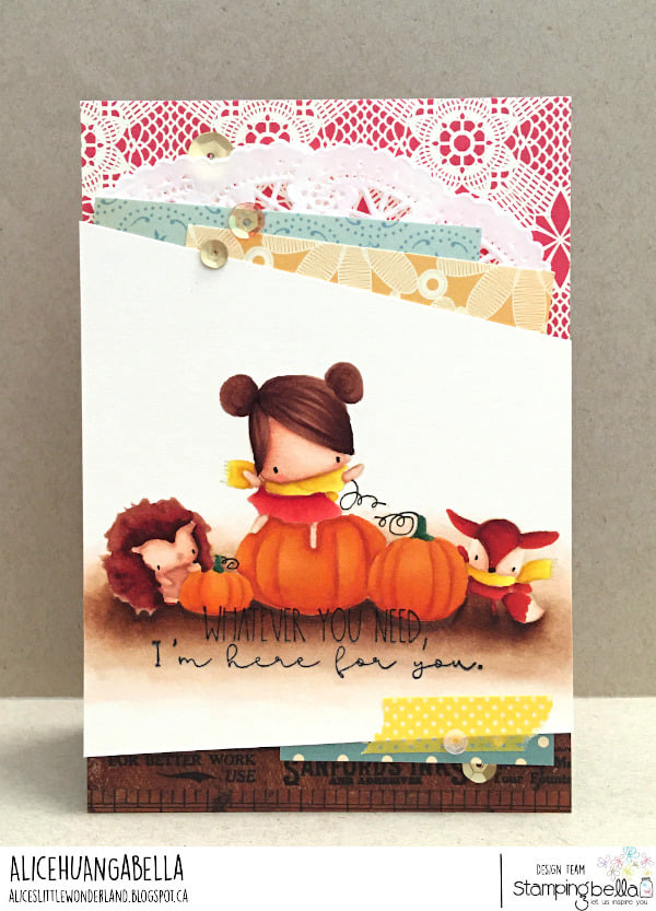 www.stampingbella.com: rubber stamp used: THE LITTLES PUMPKIN FRIENDS.  Card by Alice Huang