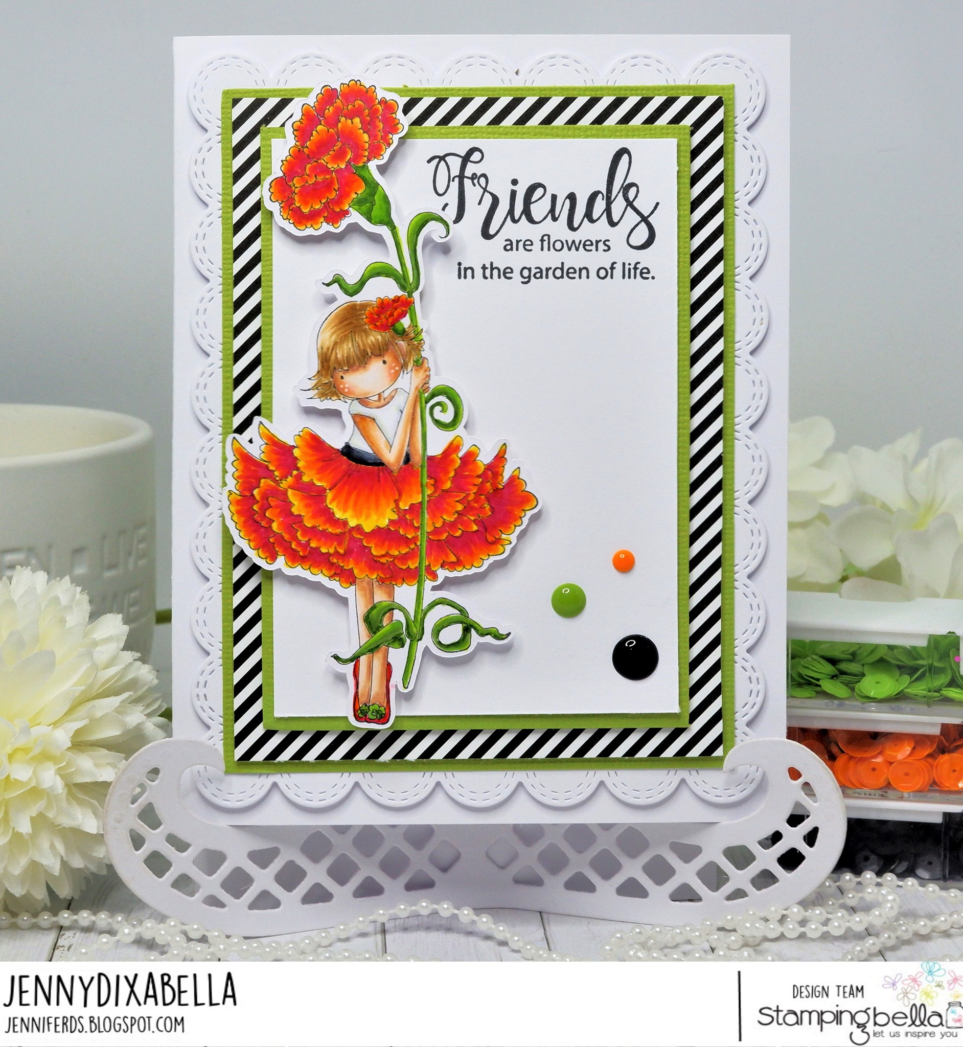www.stampingbella.com: rubber stamp used TINY TOWNIE GARDEN GIRL WITH A CARNATION card by Jenny Dix