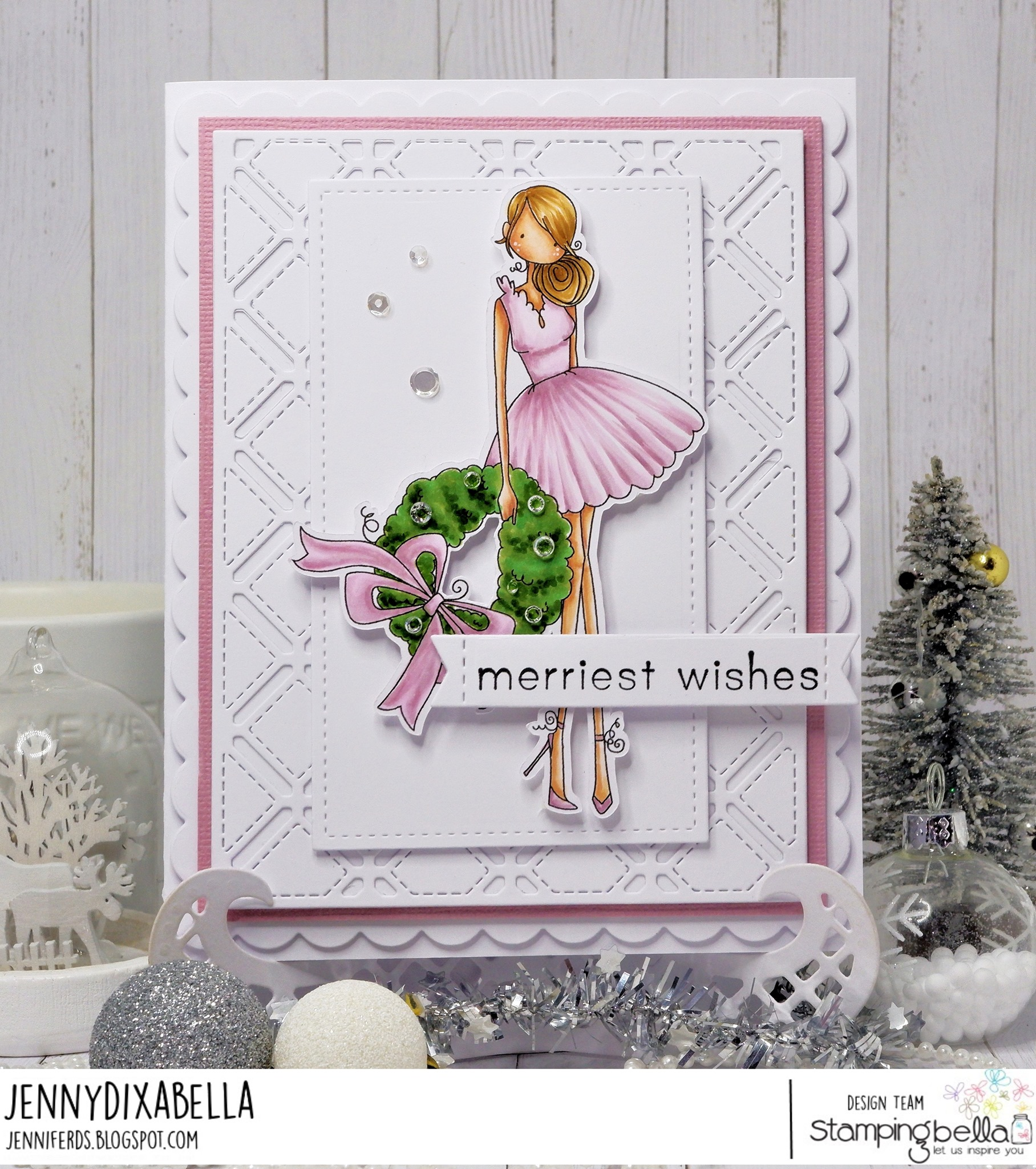 www.stampingbella.com: rubber stamp used: UPTOWN GIRL WREN and her WREATH. Card by Jenny Dix