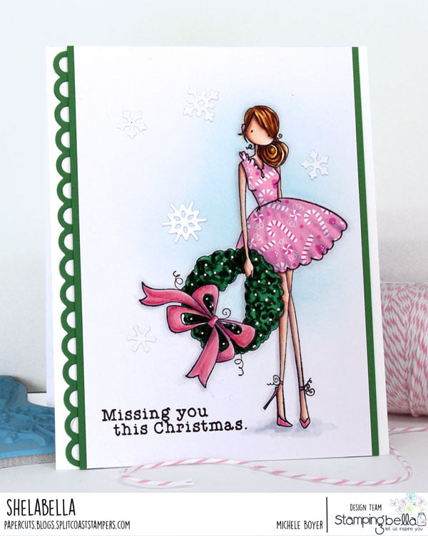 www.stampingbella.com: rubber stamp used: UPTOWN GIRL WREN  and her WREATH. Card by Michele Boyer