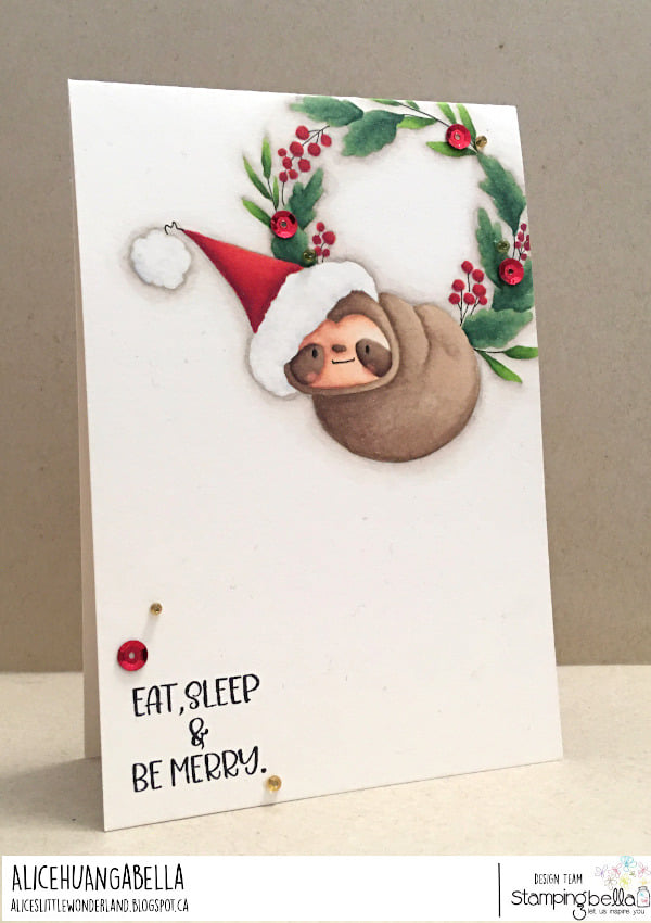 www.stampingbella.c rubber stamp used SLOTHWREATH. card by ALICE HUANG