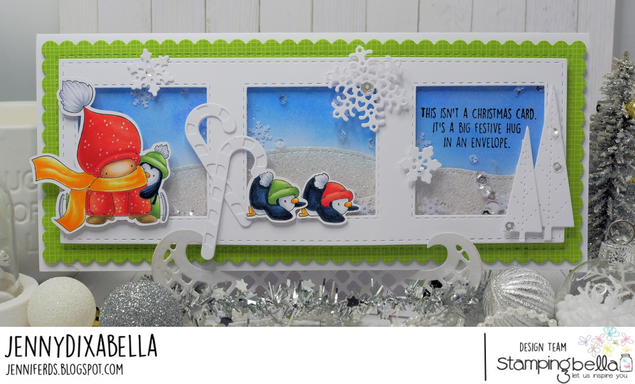 www.stampingbella.com: rubber stamp used BUNDLE GIRL SKATER card by JENNY DIX