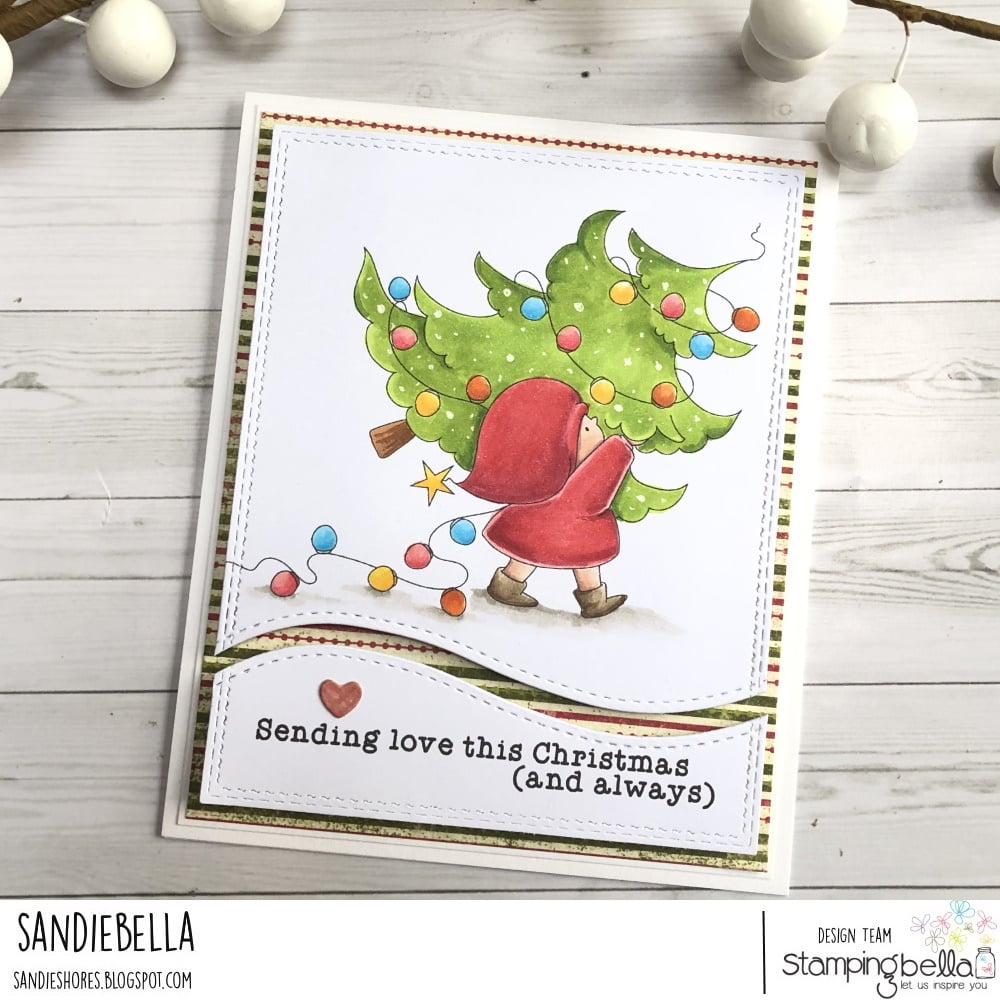 www.stampingbella.com: rubber stamp used: BUNDLE GIRL WITH A TREE. card by Sandie Dunne