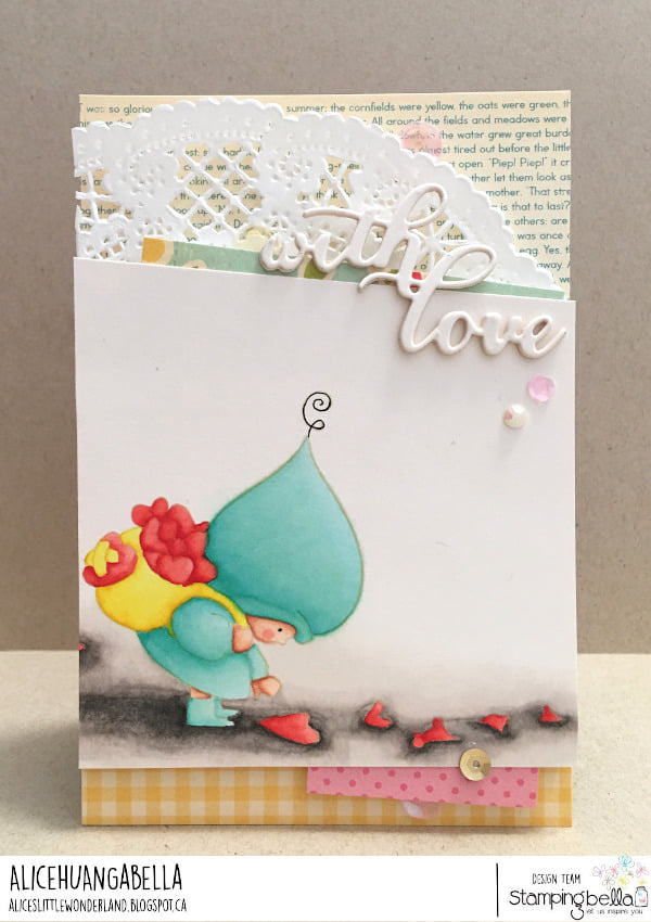 www.stampingbella.com: rubber stamp used BUNDLE GIRLWITH A HEART TRAIL card by ALICE HUANG