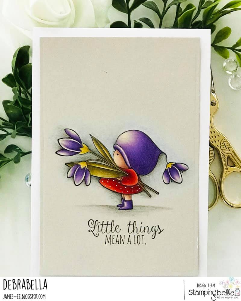 www.stampingbella.com: rubber stamp used BUNDLE GIRL WITH A SNOWDROP card by DEBRA JAMES