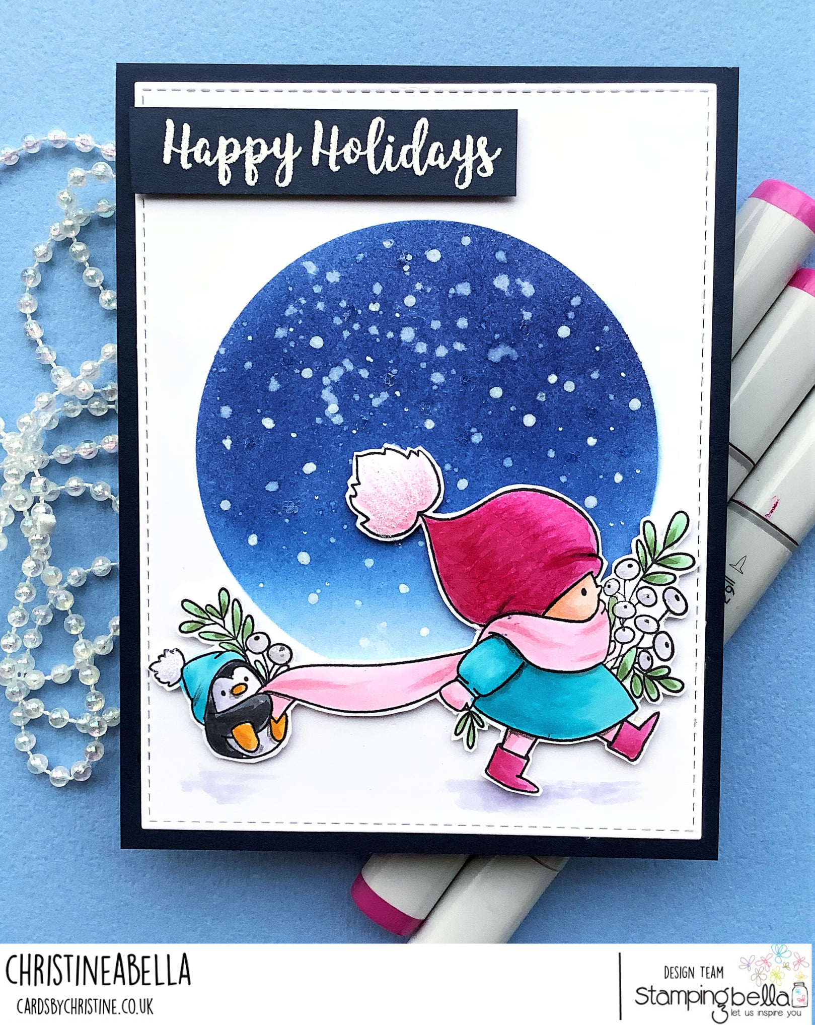 www.stampingbella.com: rubber stamp used: BUNDLE GIRL WITH PENGUIN. Card made by Christine Levison