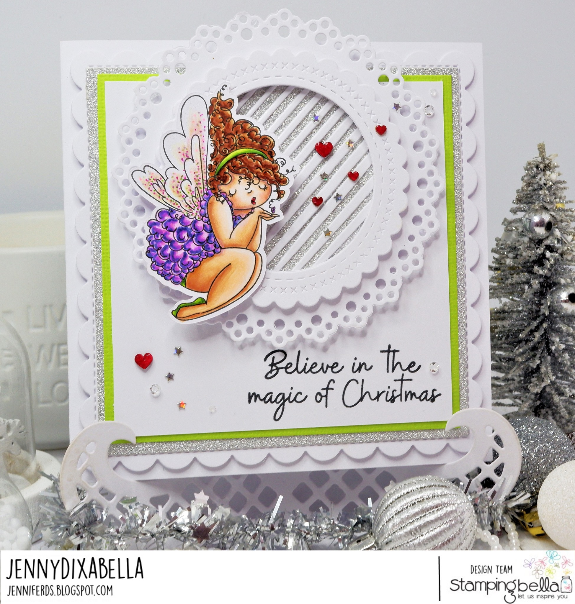 www.stampingbella.com: rubber stamp used : EDNA BLOWS A KISS , card by JENNY DIX