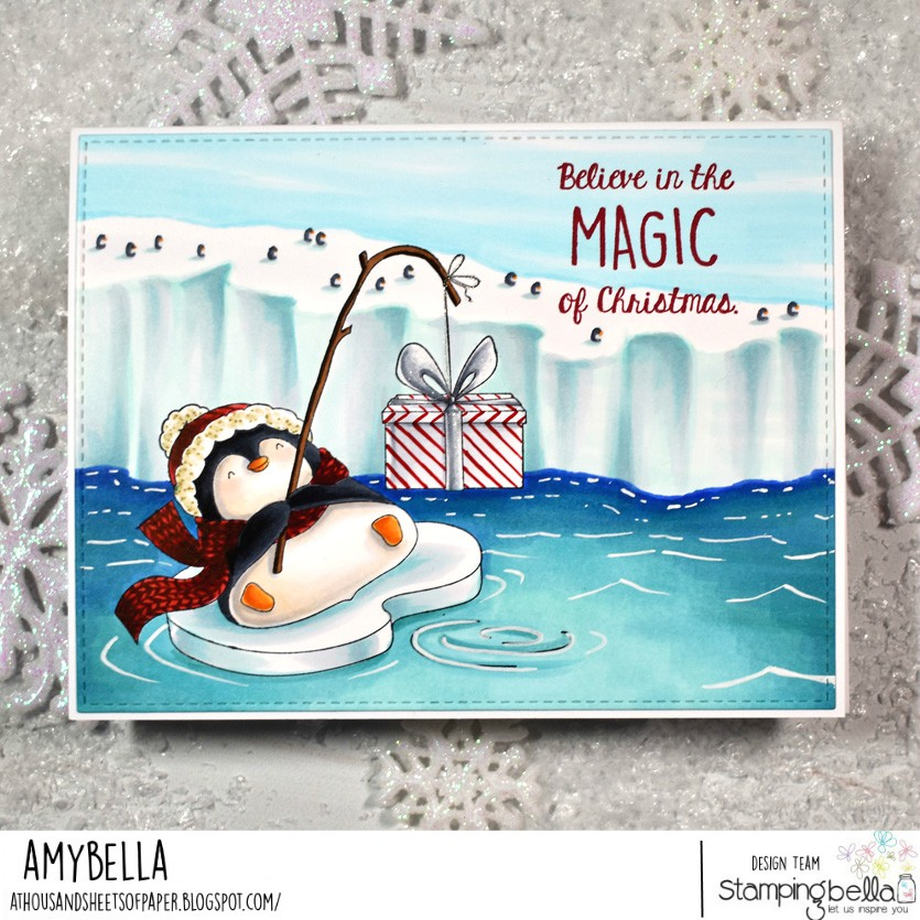 www.stampingbella.com: rubber stamp used: PENGUINS BIG CATCH card by Amy Young