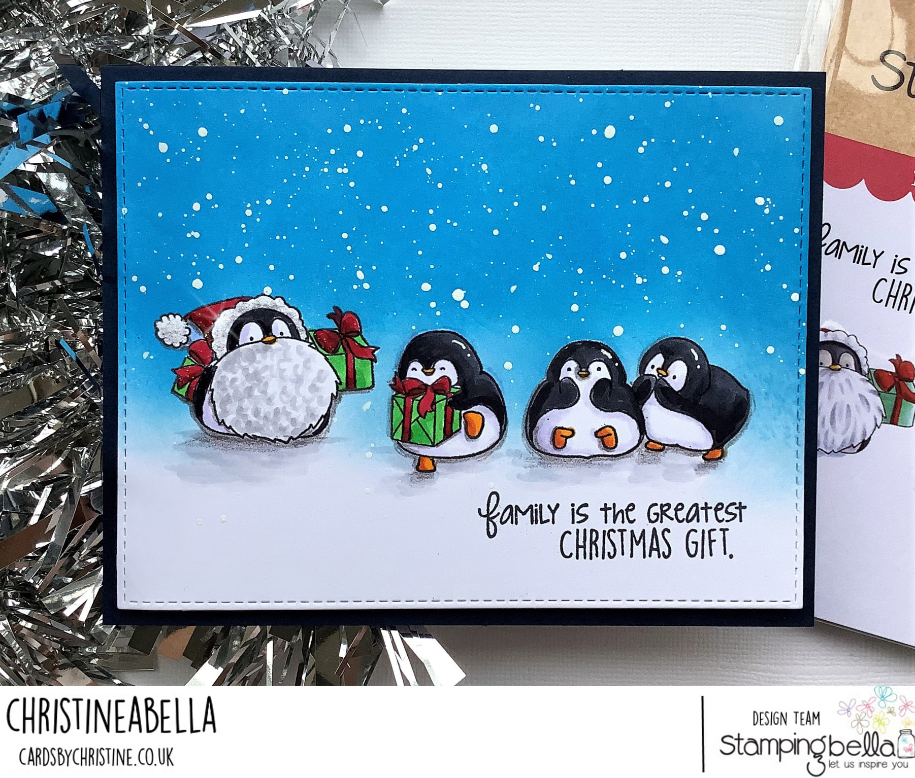 www.stampingbella.com: rubber stamp used: PENGUIN FAMILY. card by Christine Levison