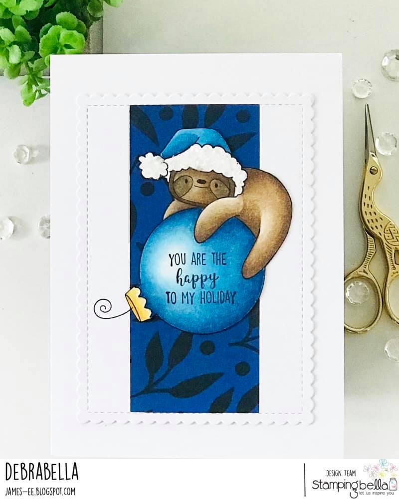 www.stampingbella.com: rubber stamp used: SLOTH ORNAMENT. card by Debra James