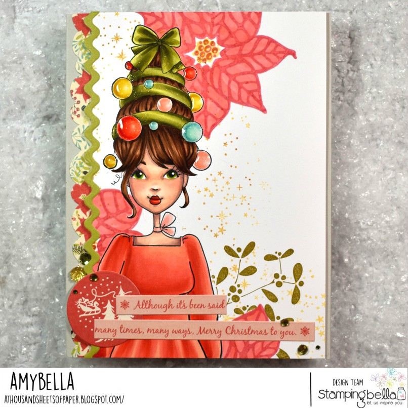 www.stampingbella.com: rubber stamp used MOCHI ORNAMENT GIRL. card by Amy Young