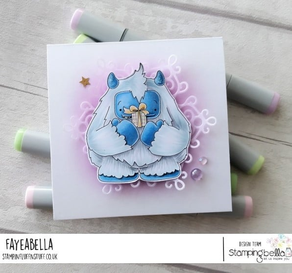www.stampingbella.com: rubber stamp used: A GIFT FROM YETI. card by Faye Wynn Jones