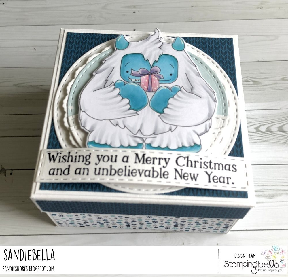 www.stampingbella.com: rubber stamp used: A GIFT FROM YETI. card by Sandie Dunne