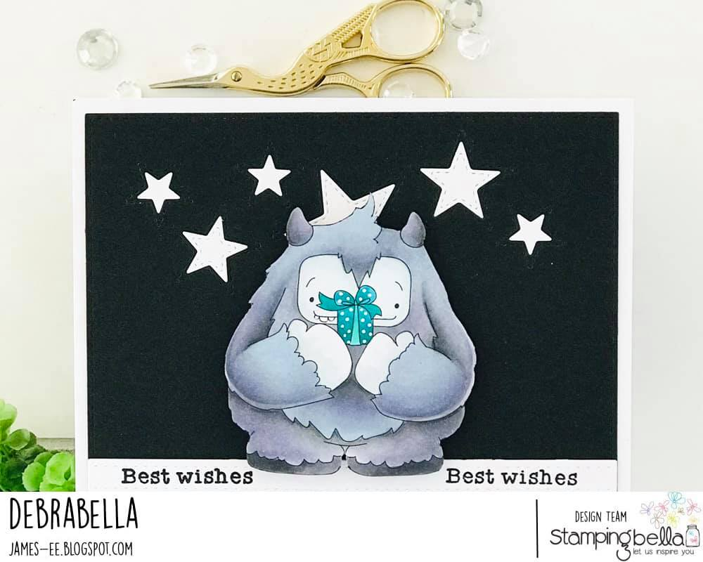 www.stampingbella.com: rubber stamp used: A GIFT FROM YETI. card by Debra James