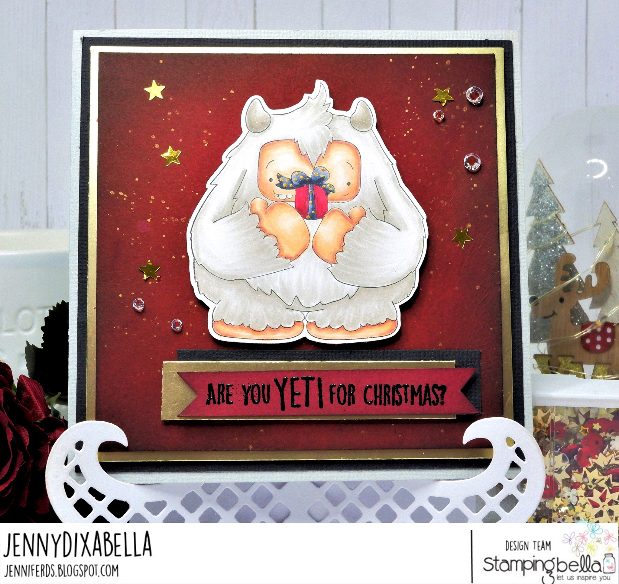 www.stampingbella.com: rubber stamp used: A GIFT FROM YETI. card by Jenny Dix