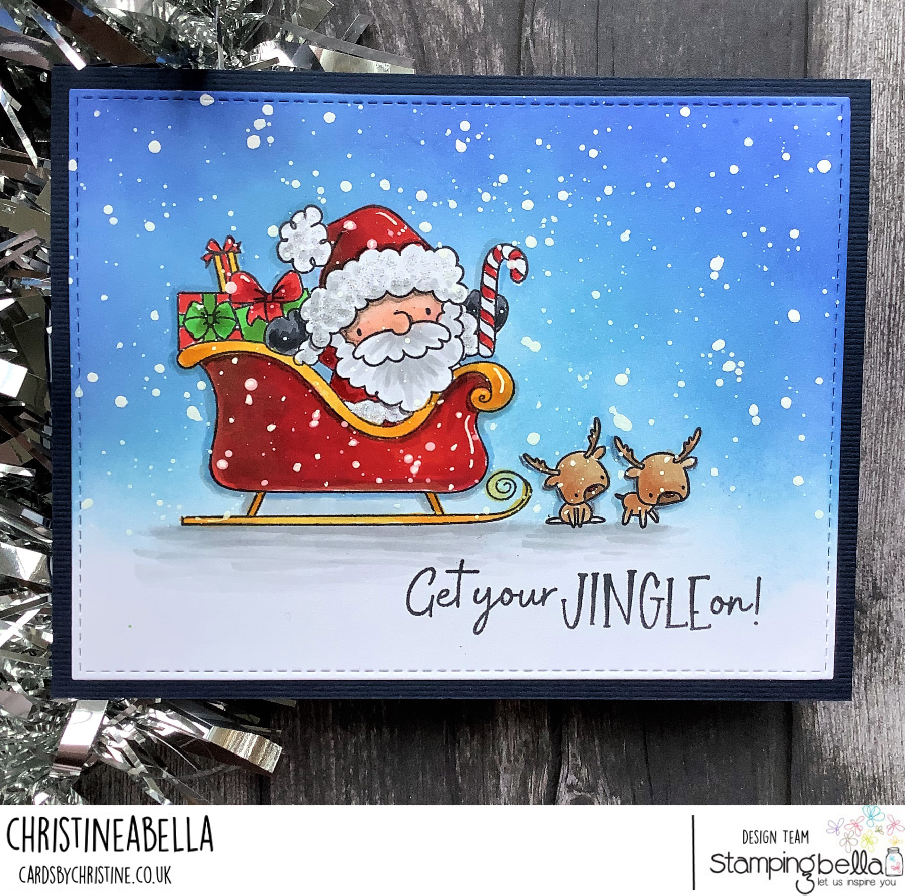 www.stampingbella.com: rubber stamp used LITTLE BITS SANTA and his reindeer. Card by Christine Levison