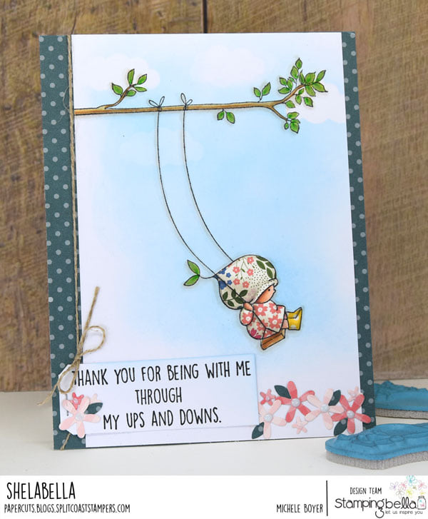 www.stampingbella.com: Rubber stamp used BUNDLE GIRL ON A SWING, CARD BY MICHELE BOYER