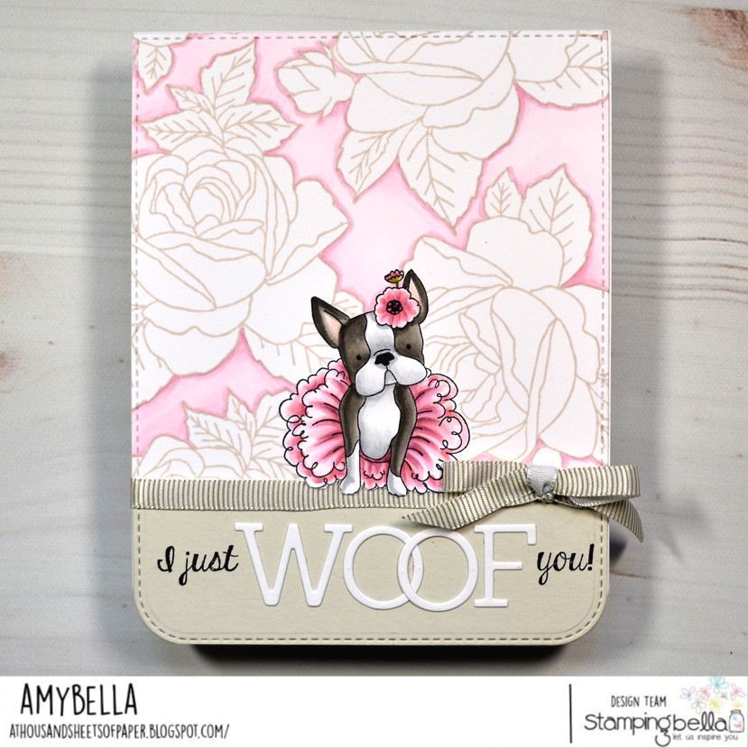 www.stampingbella.com: rubber stamp used BOSTONS PUG and Chihuahua. card by Amy Young