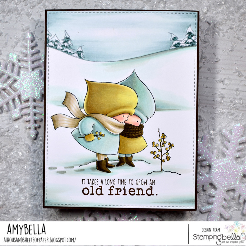 www.stampingbella.com: rubber stamp used: BUNDLE GIRL WINTER FRIENDS, card by Amy Young