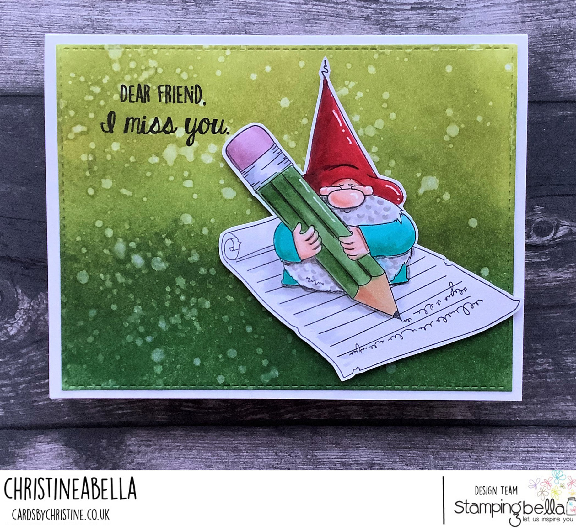 www.stampingbella.com: rubber stamp used: THE GNOME and the LETTER card by Christine Levison