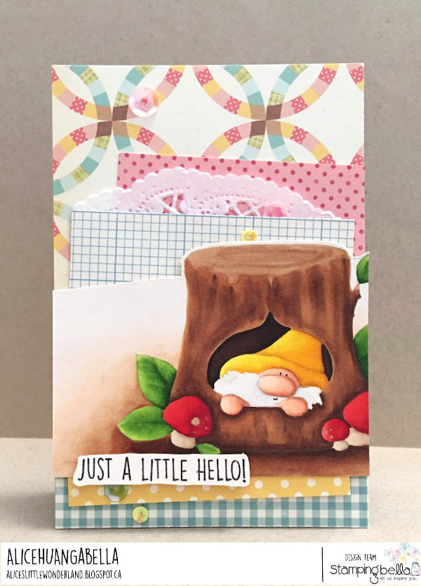 www.stampingbella.com: rubber stamp used: GNOME AND A TREE card by Alice Huang