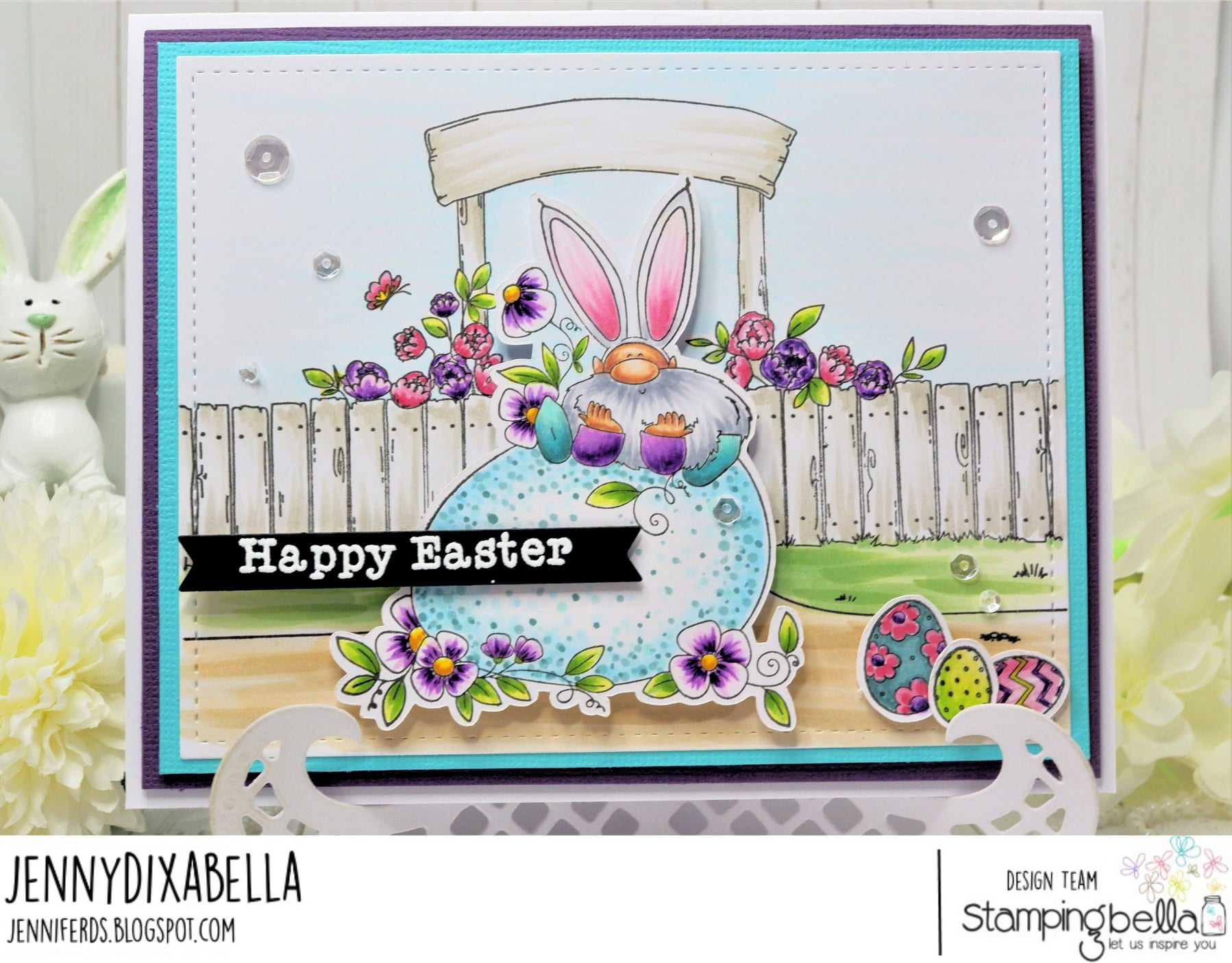 www.stampingbella.com: rubber stamp used: GNOME on an EGG card by Jenny Dix