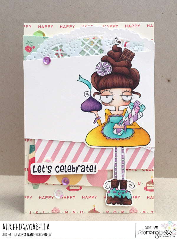 www.stampingbella.com: rubber stamp used :ODDBALL WITH A SWEET TOOTH card by ALICE HUANG