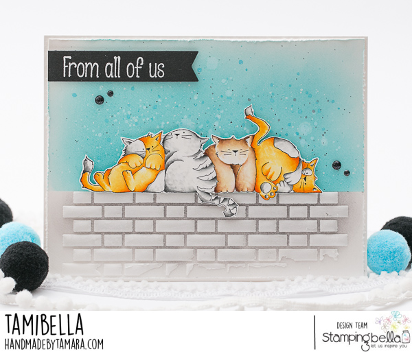 www.stampingbella.com: rubber stamp used: SQUISHY CATS. card by Tamara Potocnik