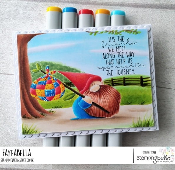 www.stampingbella.com: rubber stamp used: TRAVELING GNOME card by FAYE WYNN JONES