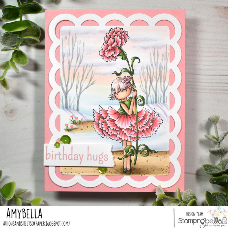 www.stampingbella.com: rubber stamp used: TINY TOWNIE GARDEN GIRL CARNATION. card by Amy Young