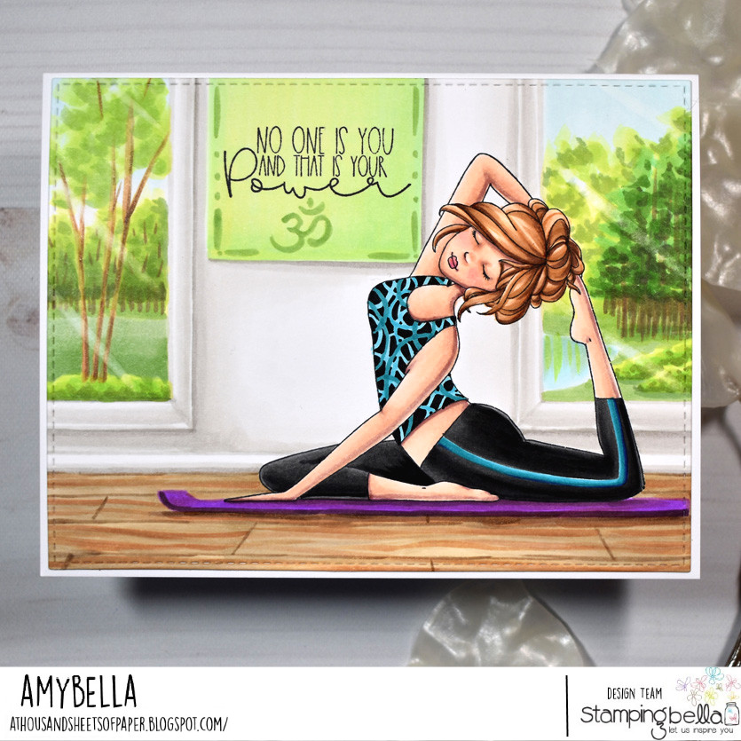 www.stampingbella.com: rubber stamp used : MOCHI YOGA GIRL card by Amy Young