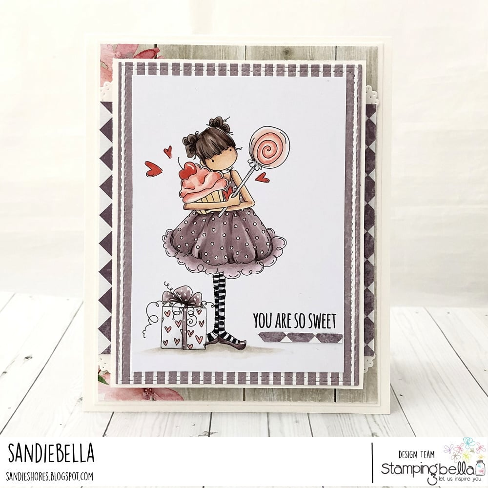 www.stampingbella.com: rubber stamp used: TINY TOWNIE SAMMY IS SWEET card by SANDIE DUNNE