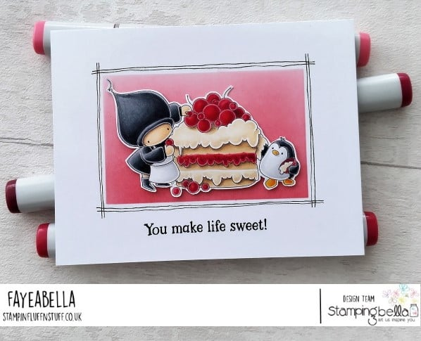 www.stampingbella.com: rubber stamp used: BUNDLE GIRL AND PENGUIN BAKE A CAKE.  card by Faye Wynn Jones