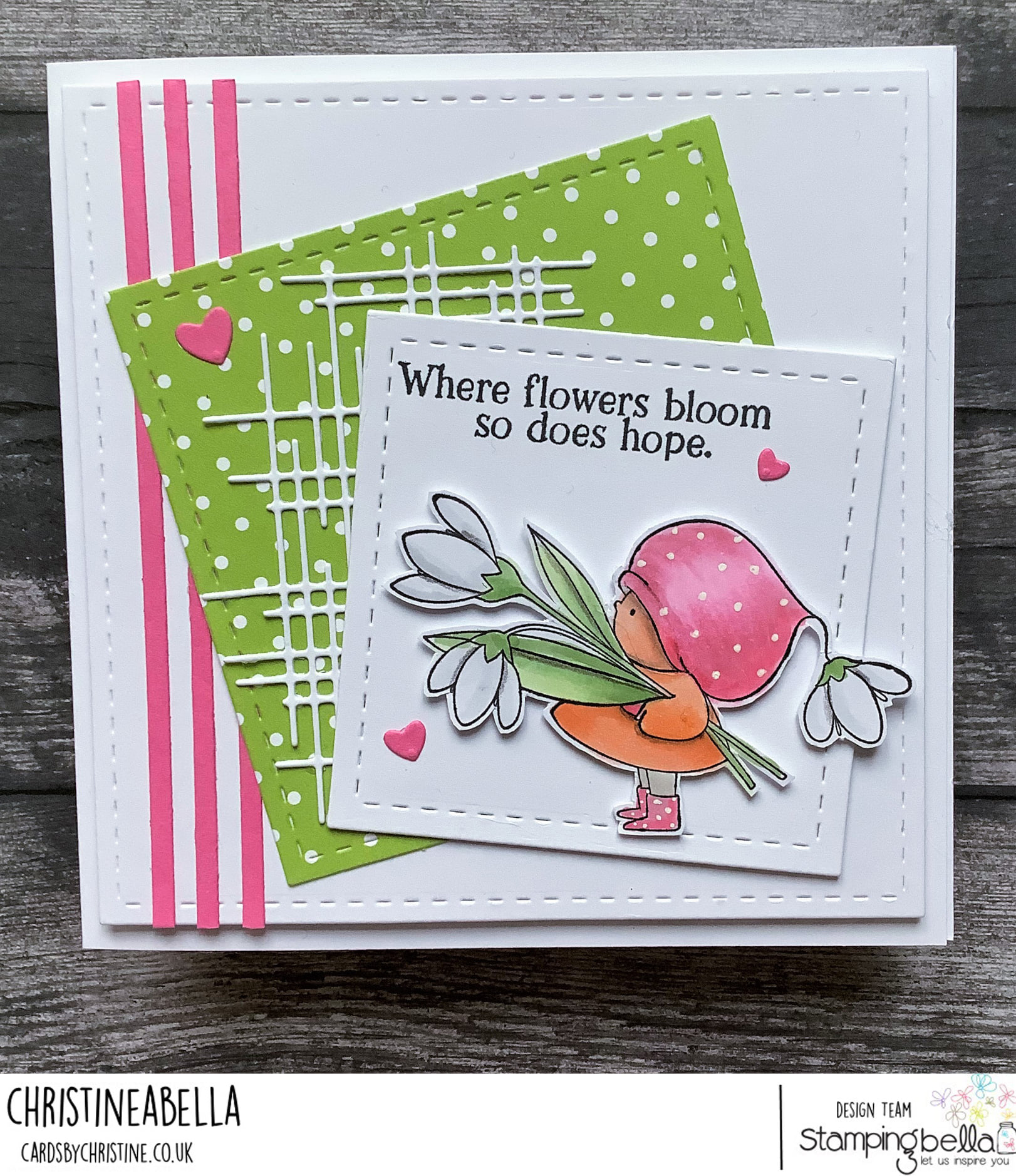 www.stampingbella.com: rubber stamp used:  BUNDLE GIRL WITH A SNOWDROP card by CHRISTINE LEVISON