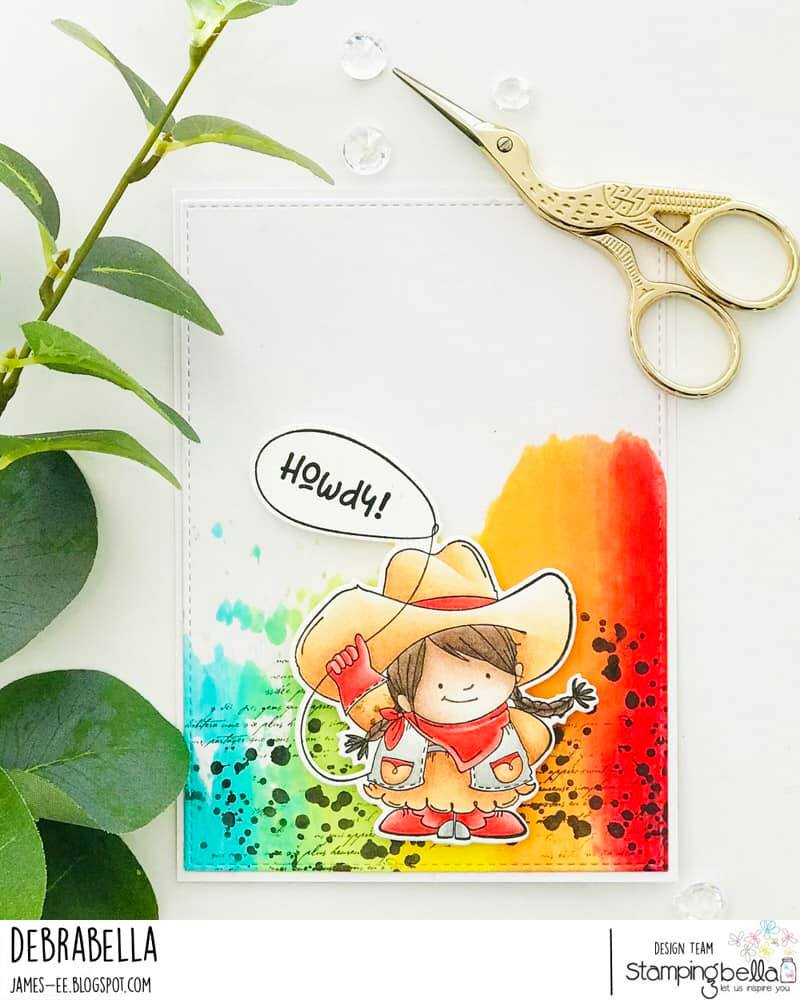 www.stampingbella.com: rubber stamp used: COWGIRL SQUIDGY card byDEBRA JAMES